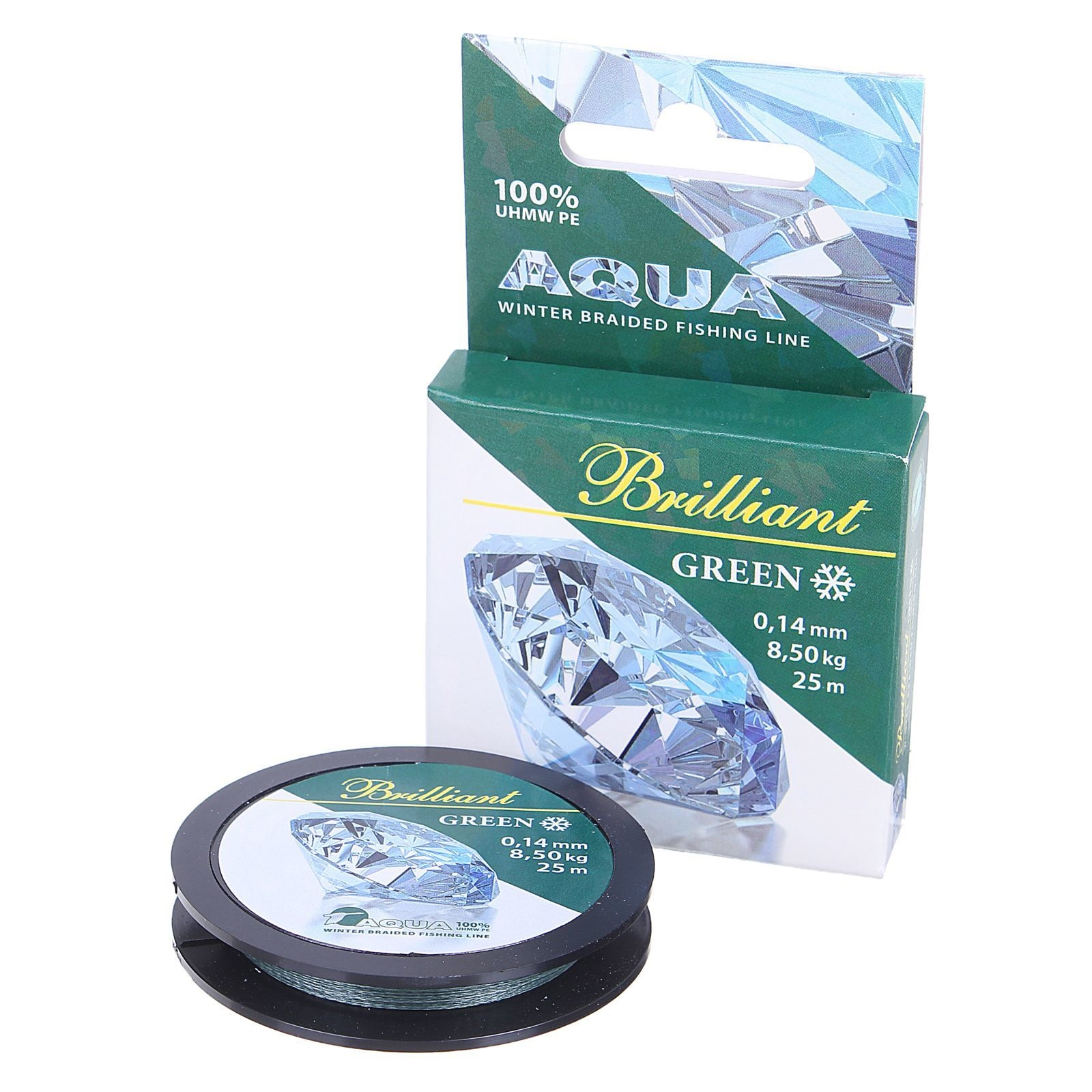 Плетеный шнур AQUA Green Brilliant 25м 0,14мм зимний